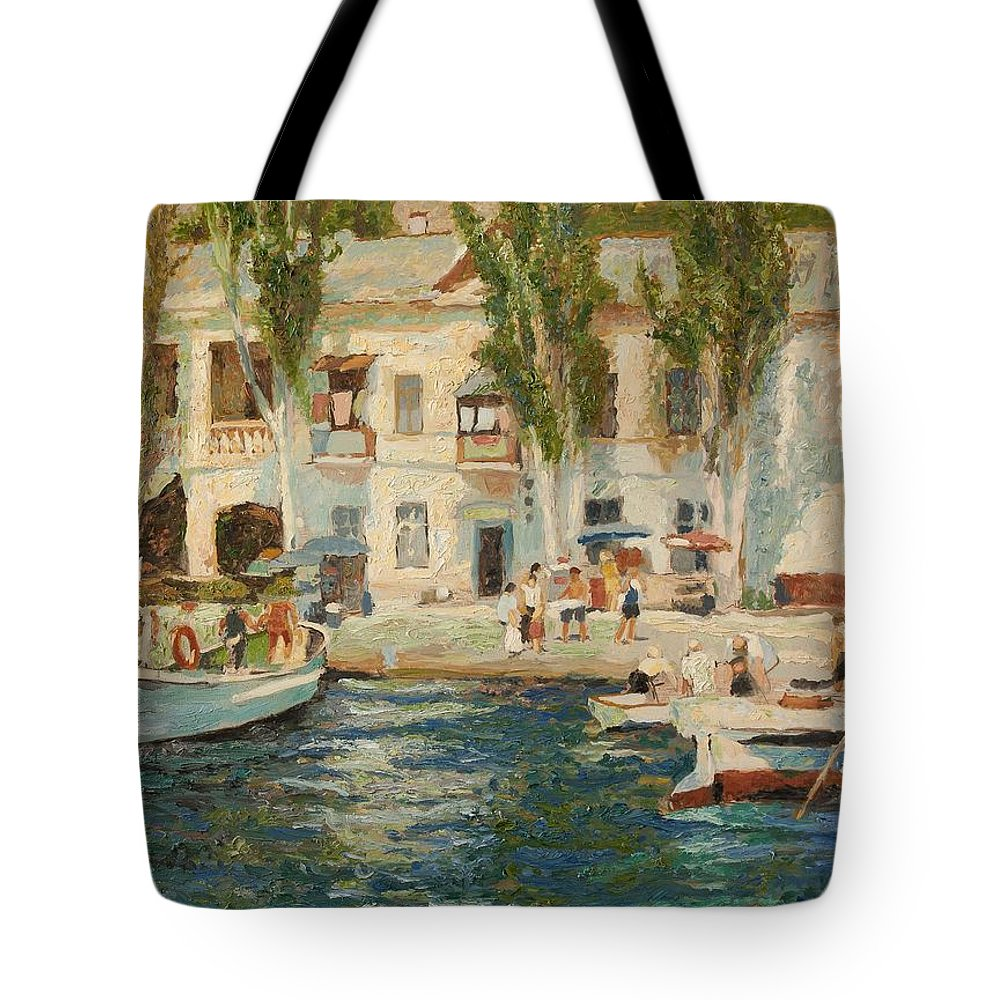 Landscape Tote Bag featuring the painting Balaklava by Robert Nizamov
