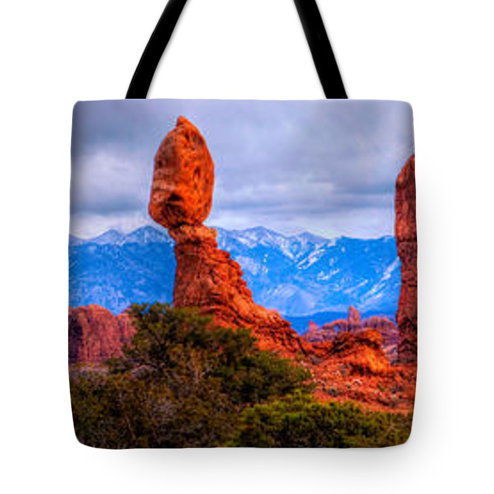Arches National Park Tote Bag featuring the photograph Balance Rock Pano by Paul Basile