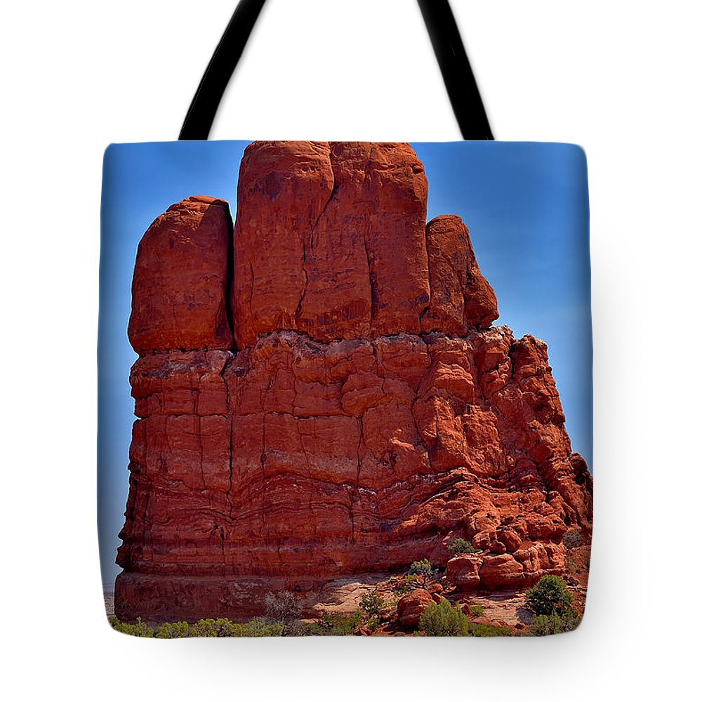 Arches Tote Bag featuring the photograph Balanced Rock 3 by Richard J Cassato