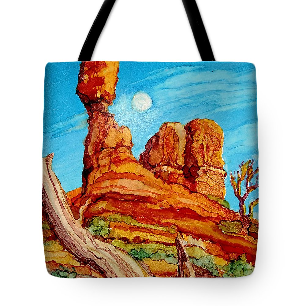 Arches National Park Tote Bag featuring the painting Balanced Rock by Diane Bay