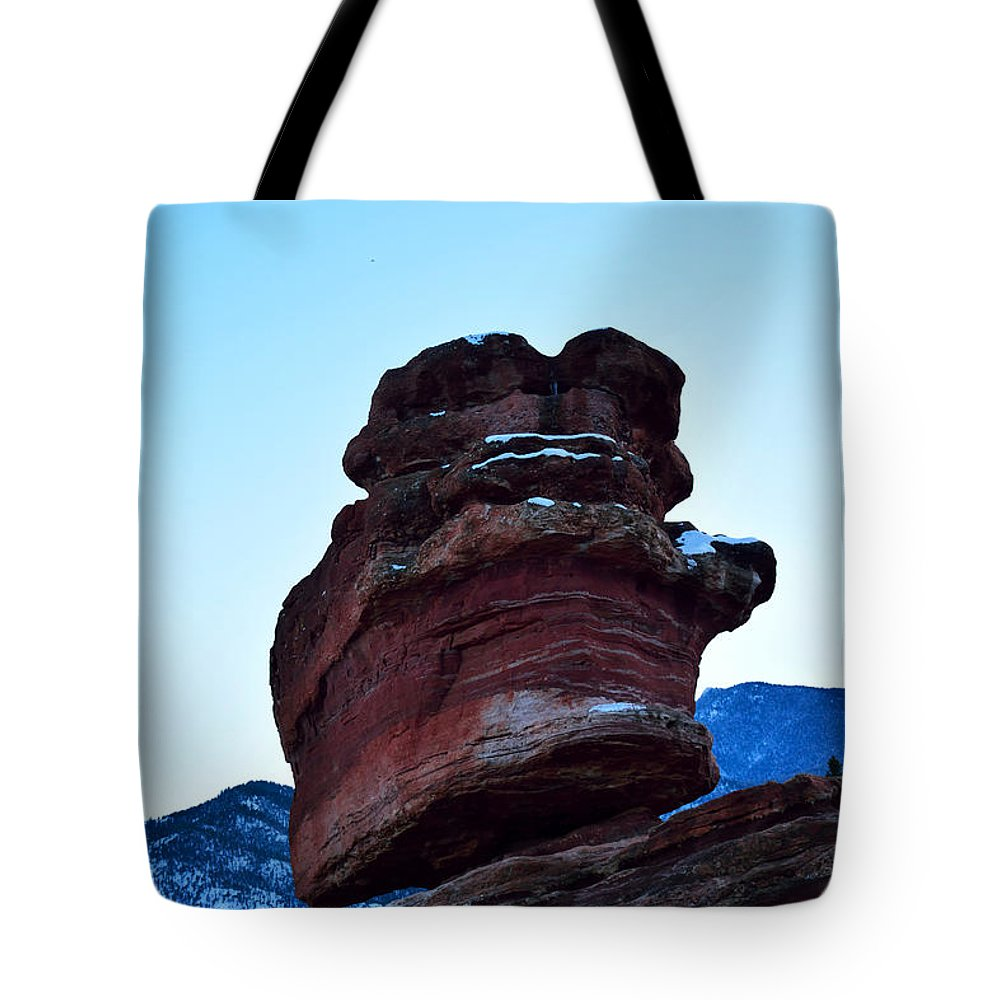Balanced Rock Tote Bag featuring the photograph Balanced Rock Sunset by Nicole Crabtree