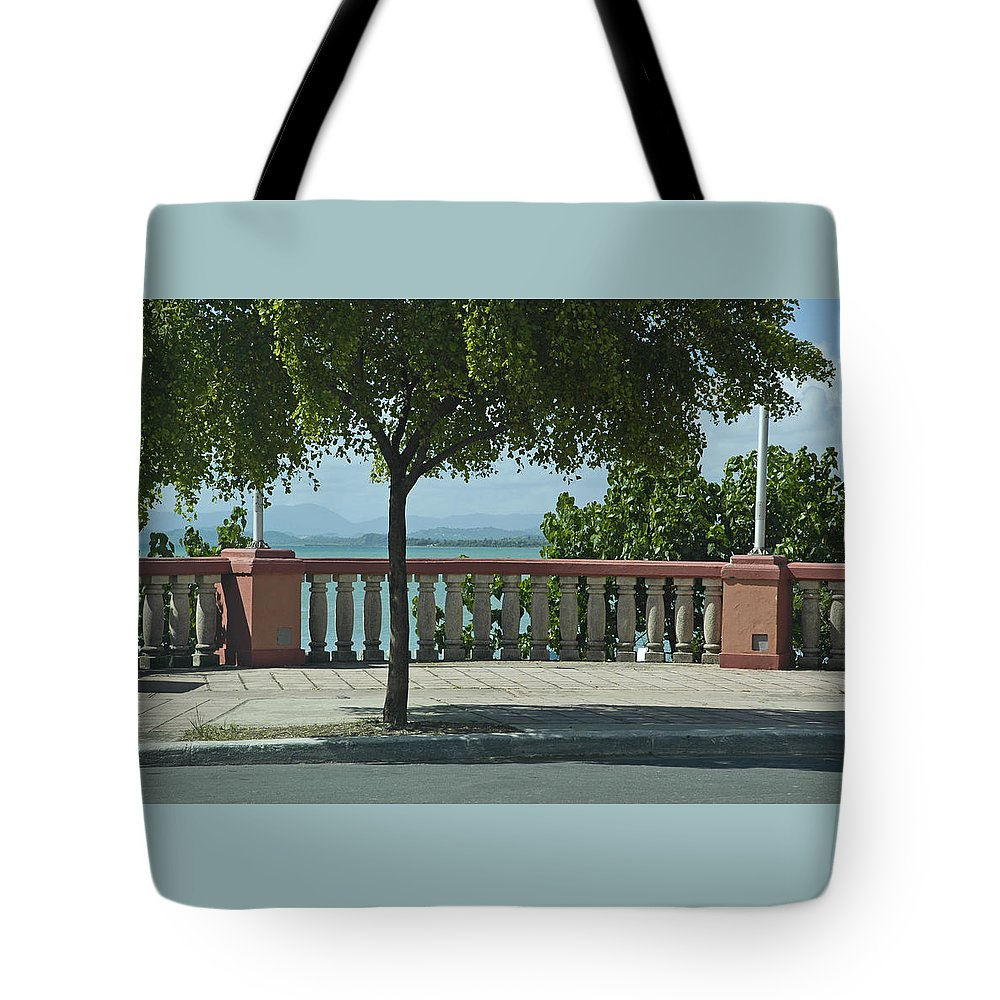 Landscape Tote Bag featuring the photograph Balcony On The Beach In Naguabo Puerto Rico by Tito Santiago