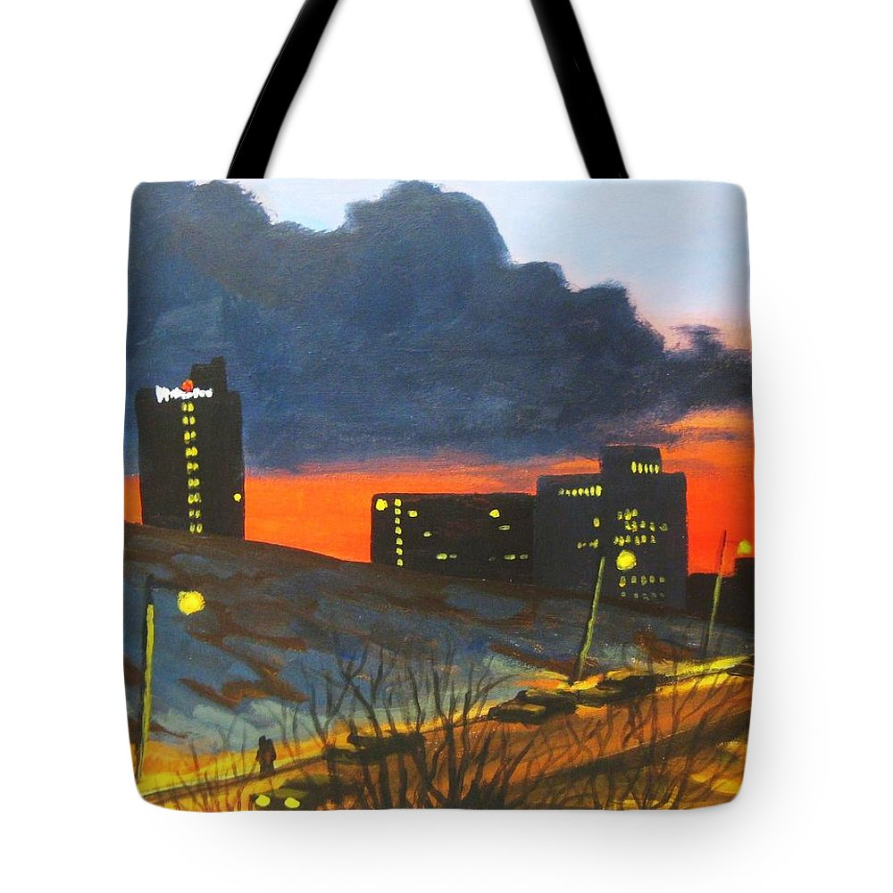 Sunset Tote Bag featuring the painting Balcony View 2 by John Malone