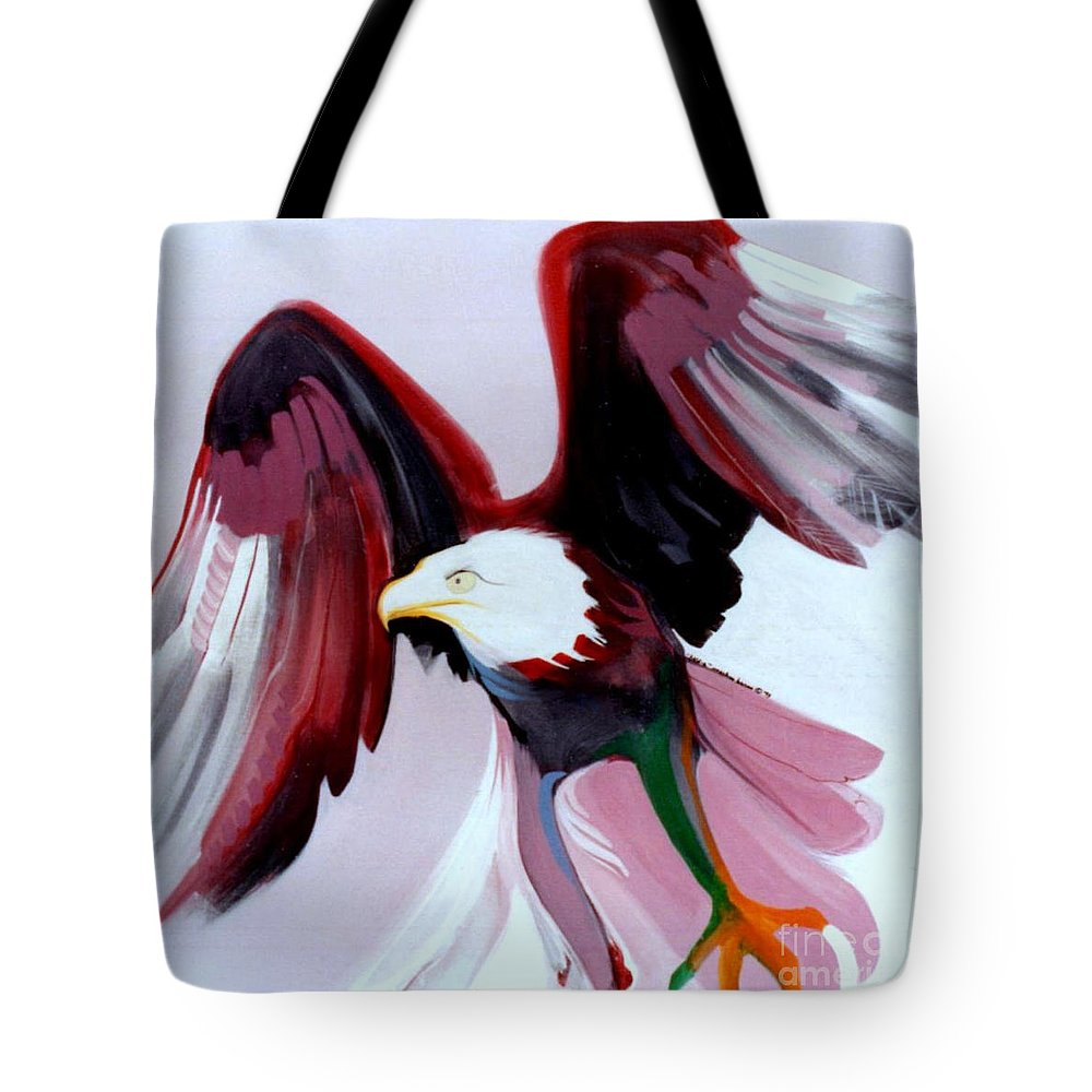 Birds Tote Bag featuring the painting Bald-e by Marlene Burns