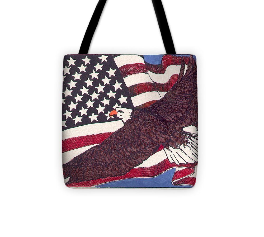 Bald Eagle Tote Bag featuring the mixed media Bald Eagle And American Flag by Donald Aday