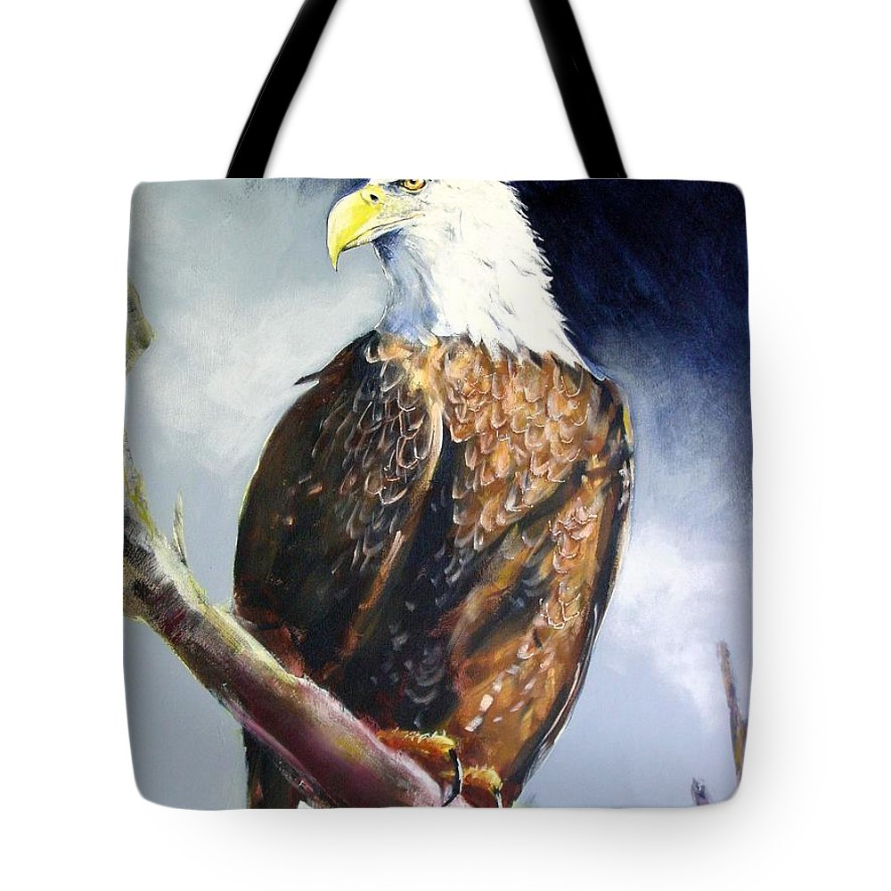 Wildlife Tote Bag featuring the painting Bald Eagle by Paul Miller