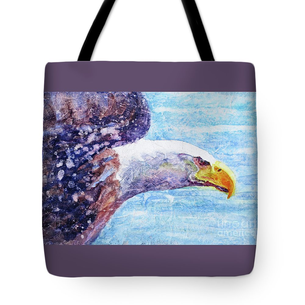 Bald Eagle In Flight Tote Bag featuring the painting Bald Eagle Portrait 2 by Bonnie Rinier