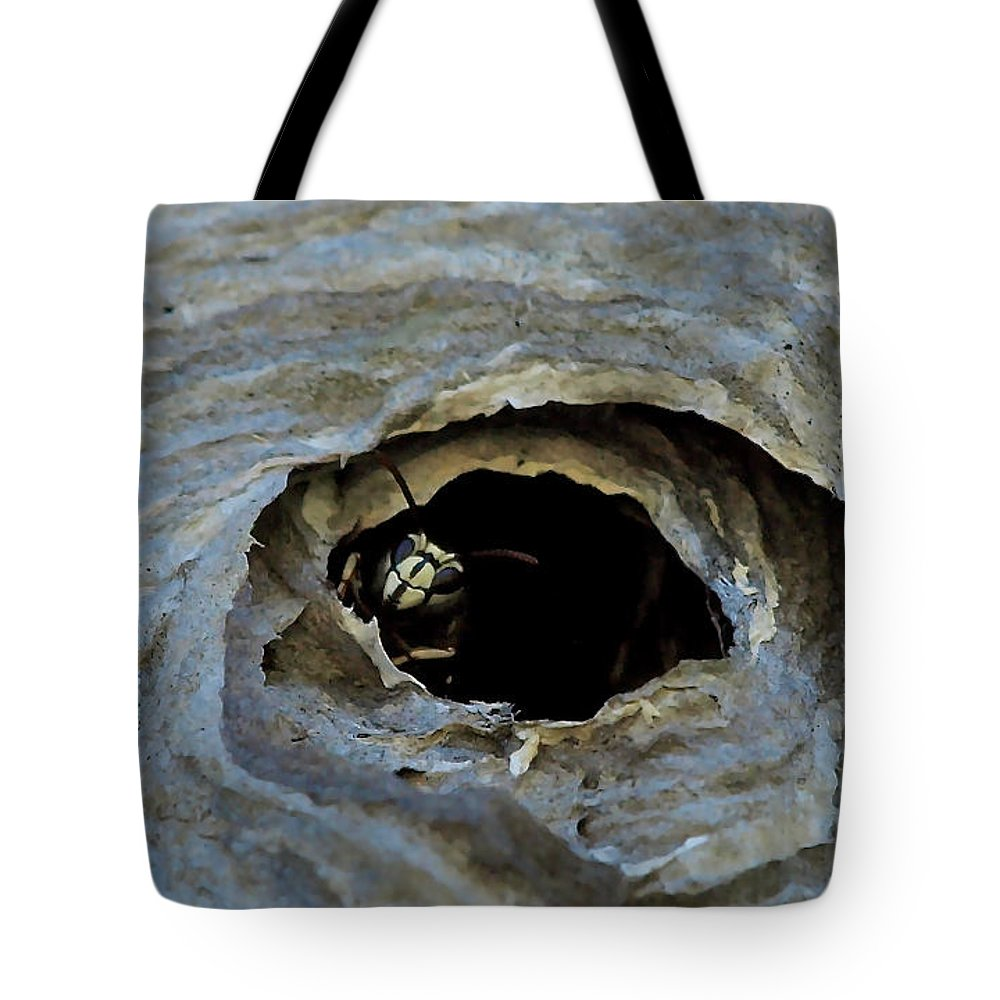 Monarch Tote Bag featuring the photograph Bald Face Hornet by Peter Gray