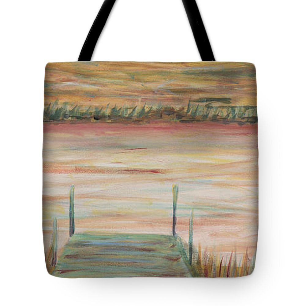 Dock Tote Bag featuring the painting Bald Head Dock by Nadine Rippelmeyer