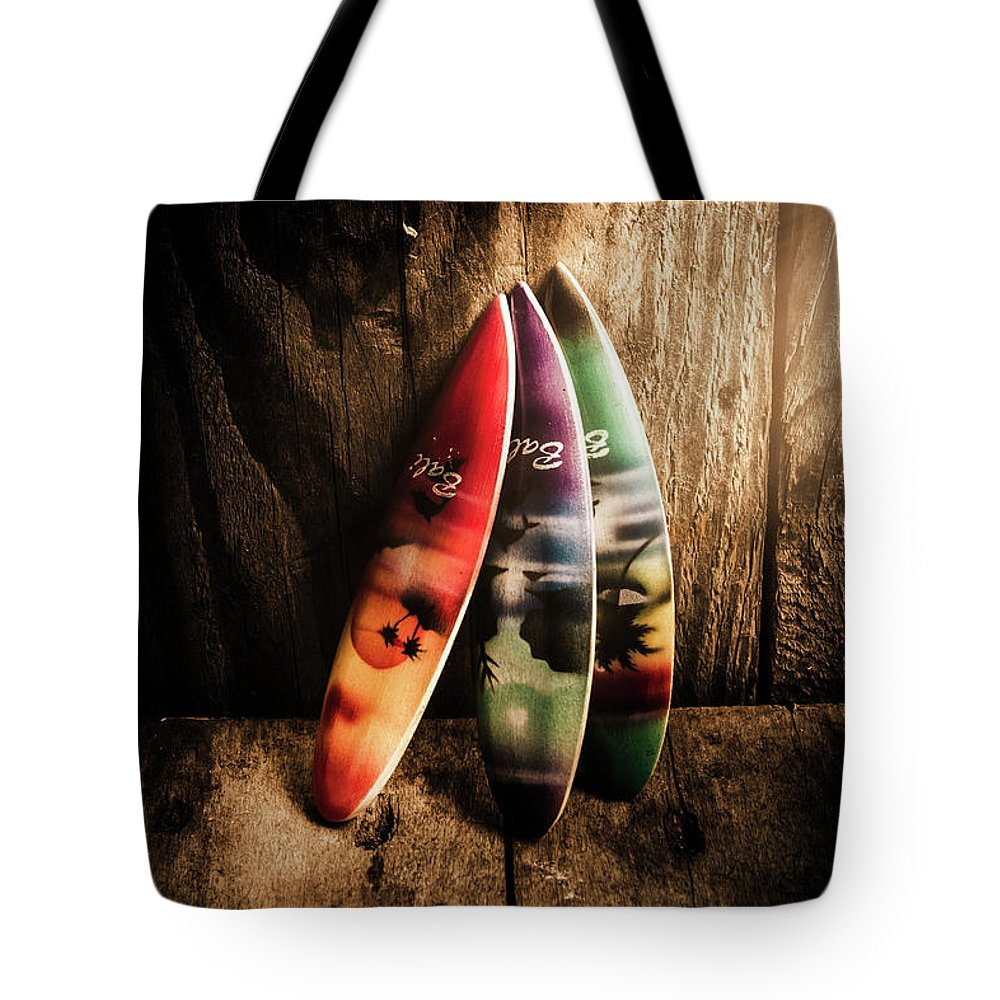 Surfboard Tote Bag featuring the photograph Bali Beach Surf Holiday Scene by Jorgo Photography - Wall Art Gallery