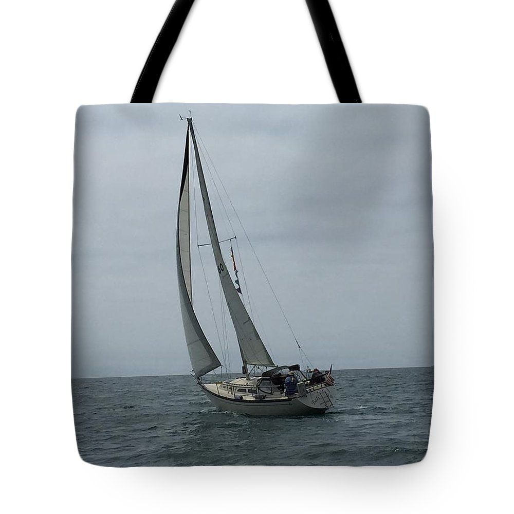 Sailing Tote Bag featuring the photograph Bali Hai, Aug., 2014, Moss Landing I by Larry Daeumler