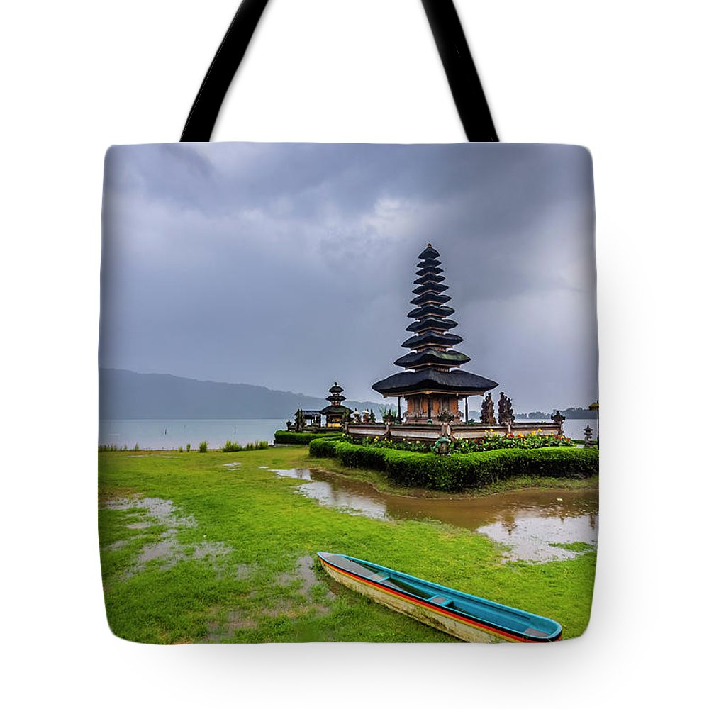 Ancient Tote Bag featuring the photograph Bali Lake Temple by Jijo George