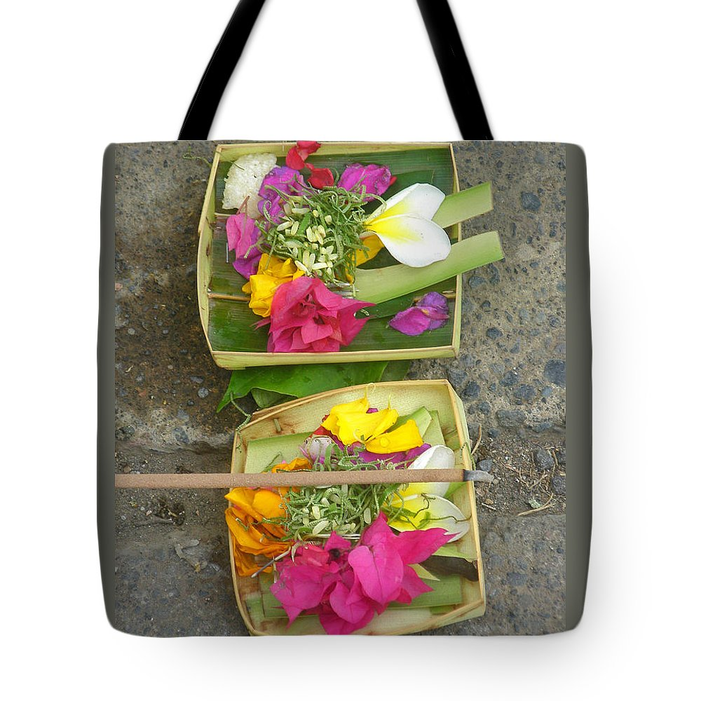 Bali Balinese Religion Budhism Ritual Offering Culture Asia Asian Tradition Tote Bag featuring the photograph Balinese Offering Baskets by Mark Sellers