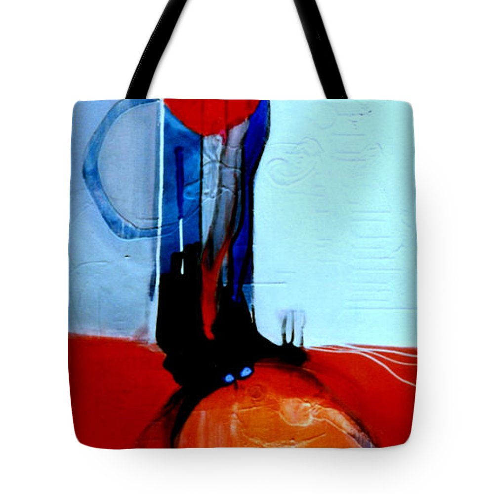 Abstract Tote Bag featuring the painting Ball And Chain Outcome by Marlene Burns