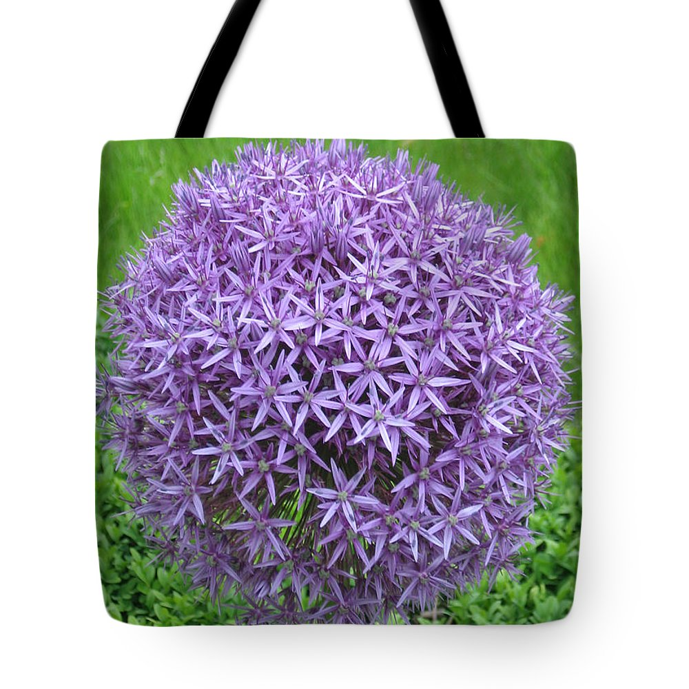 Ball of purple flowers happy birthday tote bag for sale by martin birthday tote bag featuring the photograph ball of purple flowers happy birthday by martin matthews izmirmasajfo