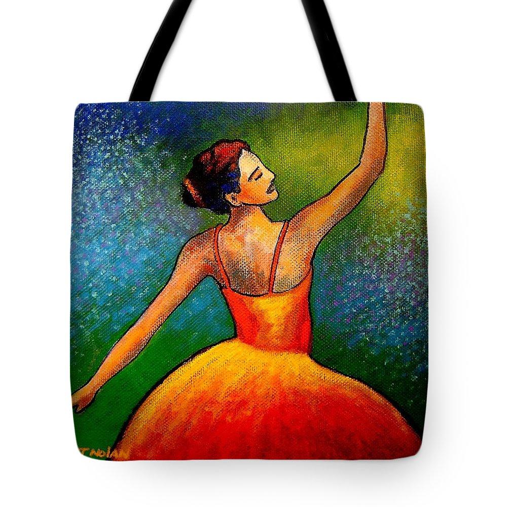 Ballerina Tote Bag featuring the painting Ballerina by John Nolan