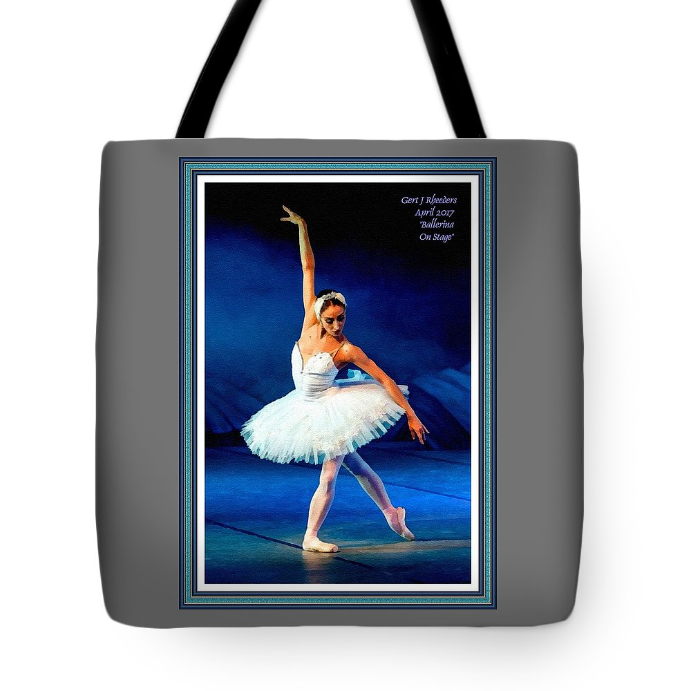 Ballet Tote Bag featuring the painting Ballerina On Stage L A With Alt. Decorative Ornate Printed Frame. by Gert J Rheeders