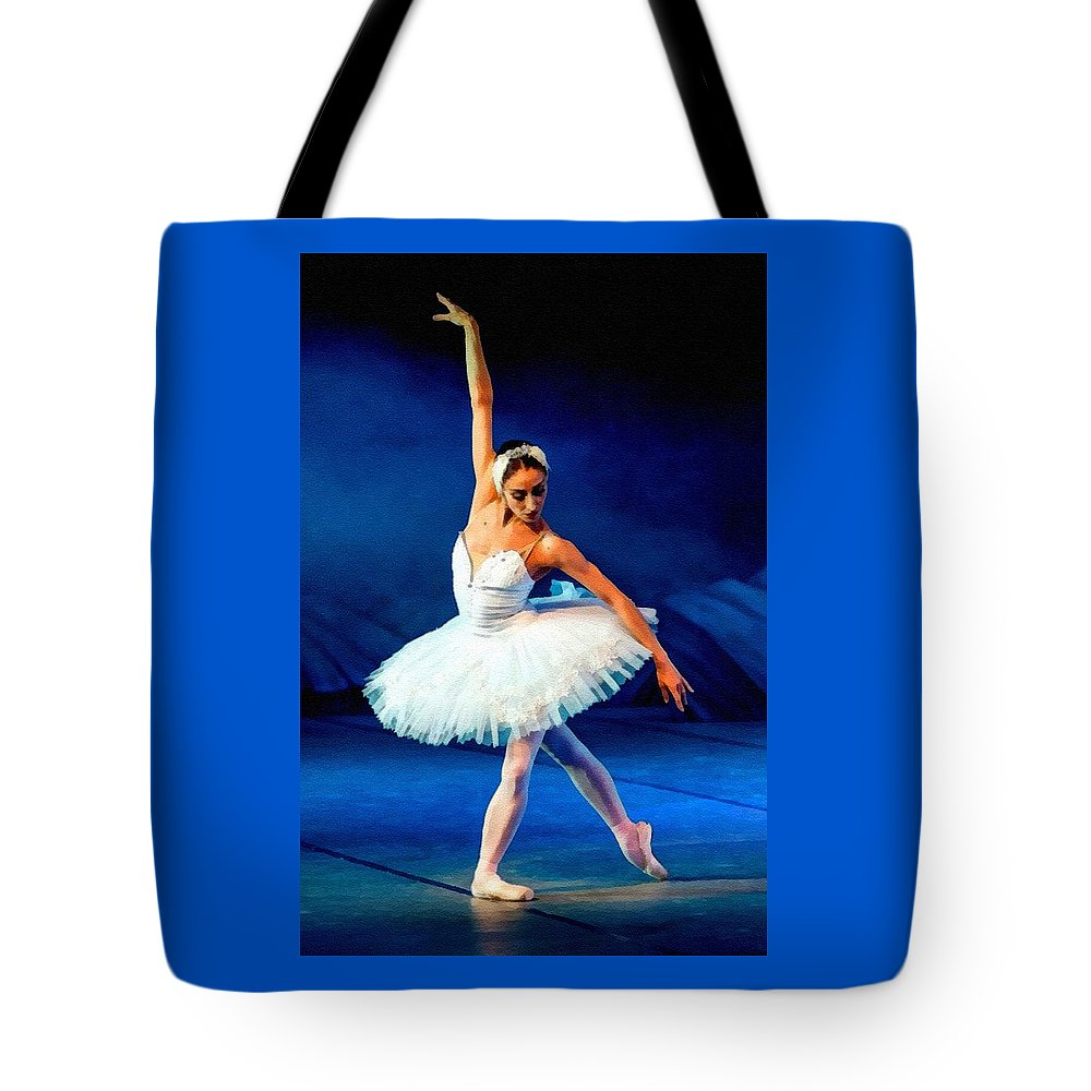 Ballet Tote Bag featuring the painting Ballerina On Stage L B by Gert J Rheeders