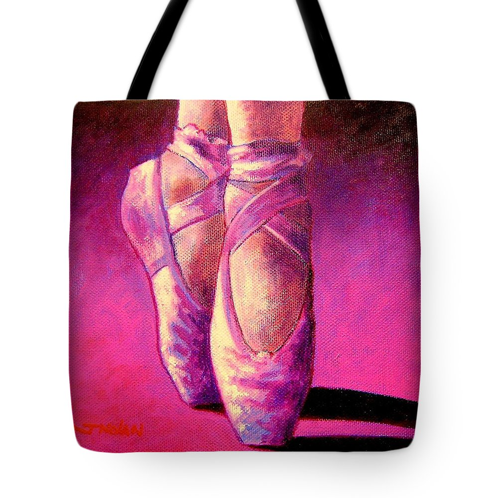 Ballet Tote Bag featuring the painting Ballet Shoes II by John Nolan