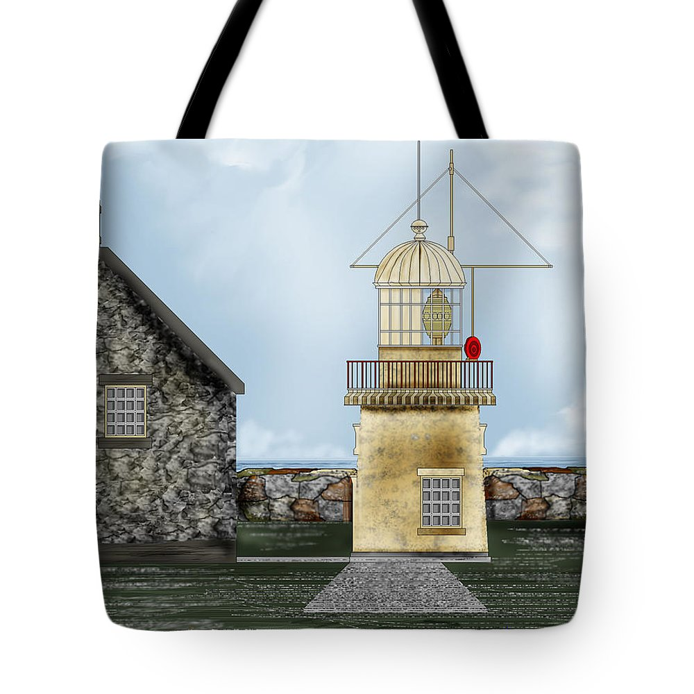 Lighthouse Tote Bag featuring the painting Ballinacourty Lighthouse At Waterford Ireland by Anne Norskog