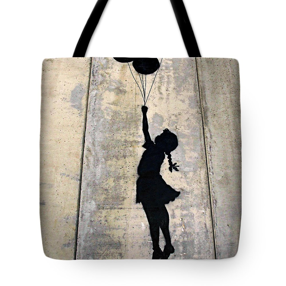 Banksy Tote Bag featuring the photograph Ballons Girl by Munir Alawi