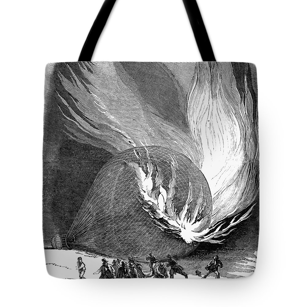 1850 Tote Bag featuring the photograph Balloon Accident, 1850 by Granger