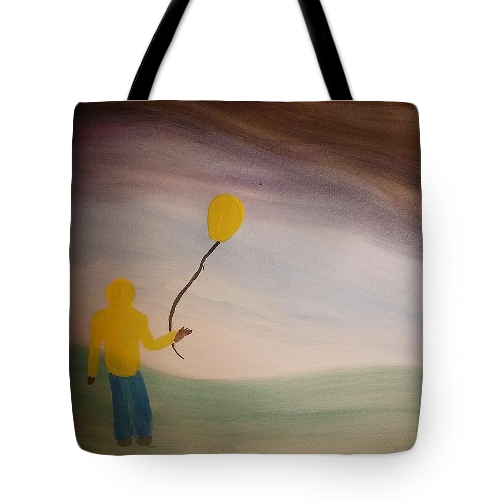 Balloon Tote Bag featuring the painting Balloon Boy Faces The Storm by Vale Anoa'i