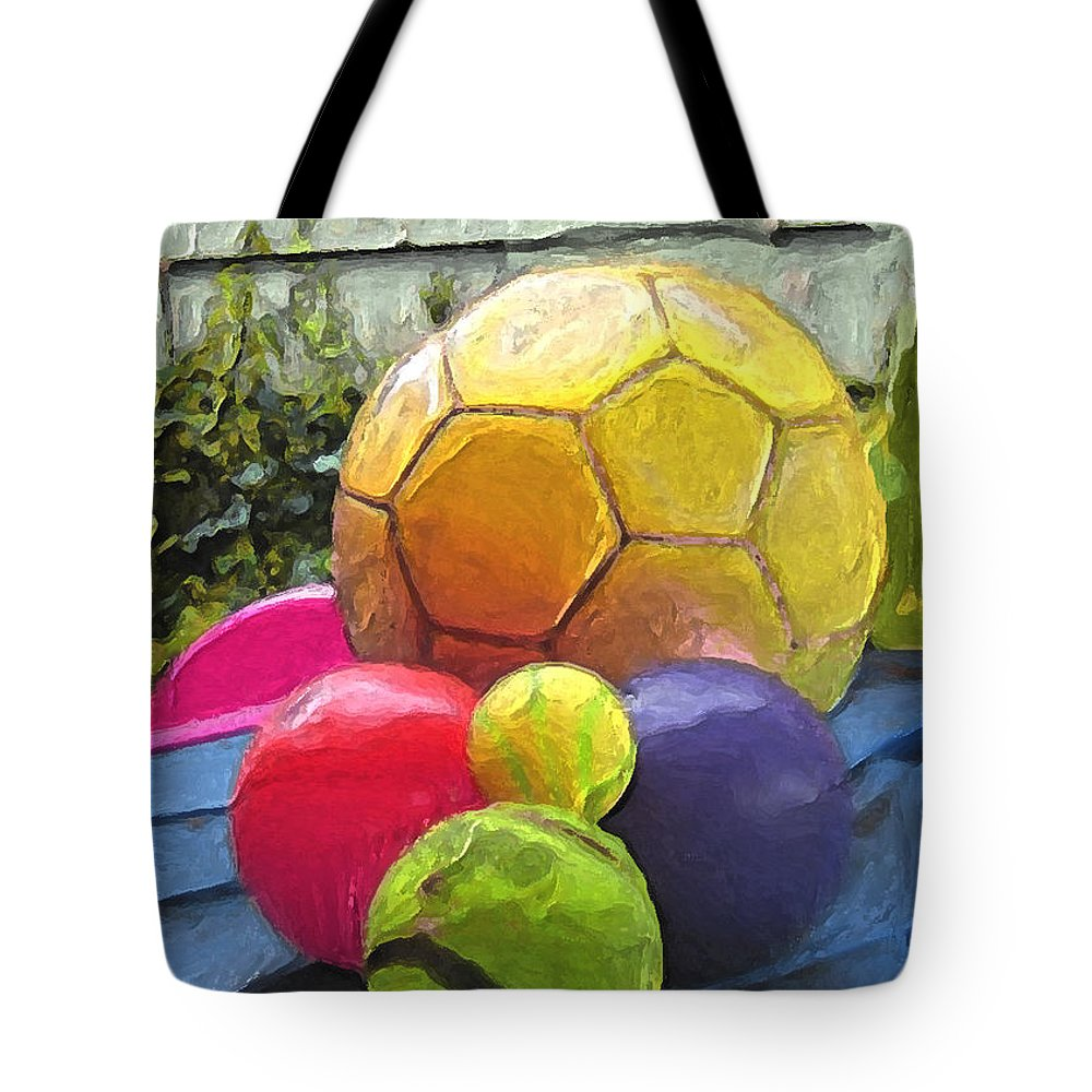 Art For Kids Tote Bag featuring the painting Balls To Play With Outside by Carla G Art