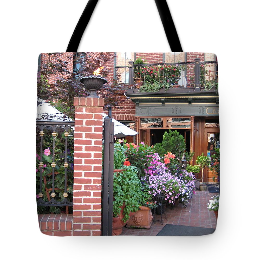 Courtyard Tote Bag featuring the photograph Baltimore Cafe     By Jean Carton by Jerrold Carton
