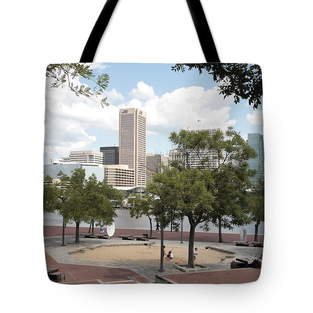 Baltimore Tote Bag featuring the photograph Baltimore Inner Harbor Play Area by William Kuta