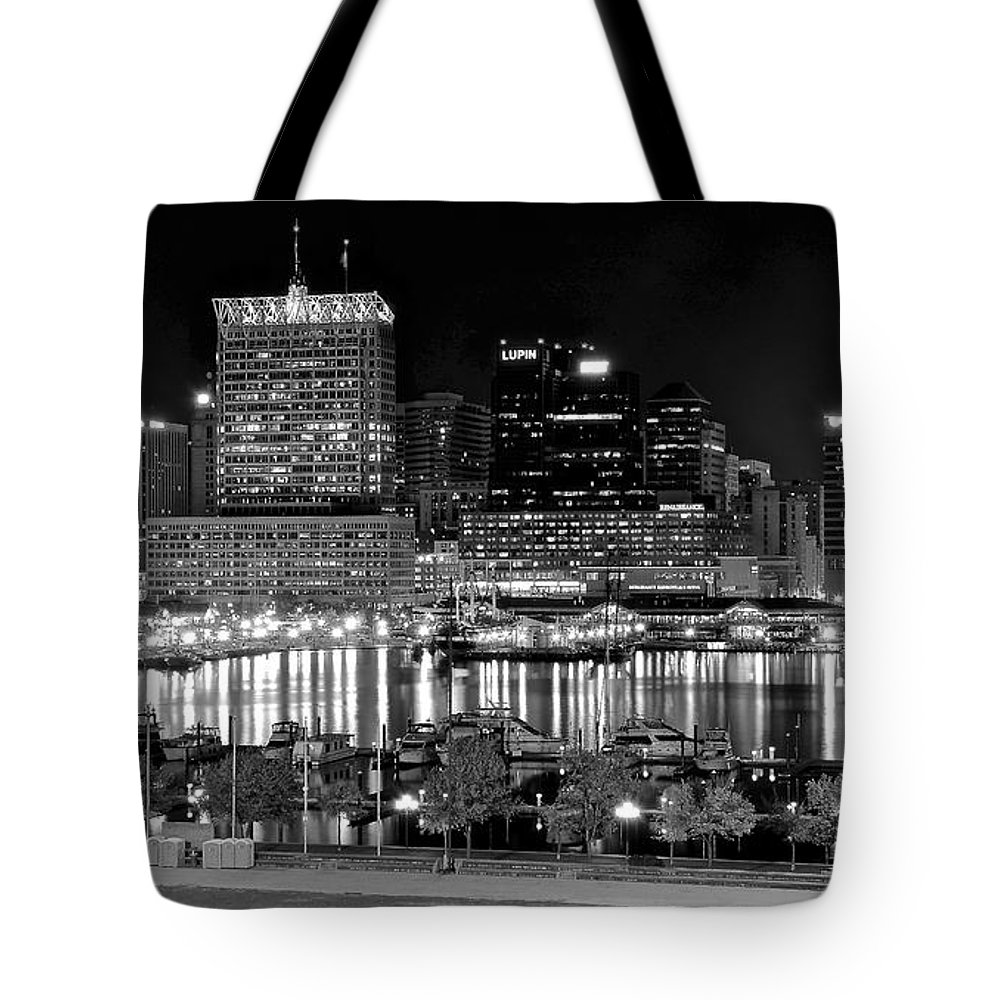 Baltimore Tote Bag featuring the photograph Baltimore Lights Up Brightly by Frozen in Time Fine Art Photography