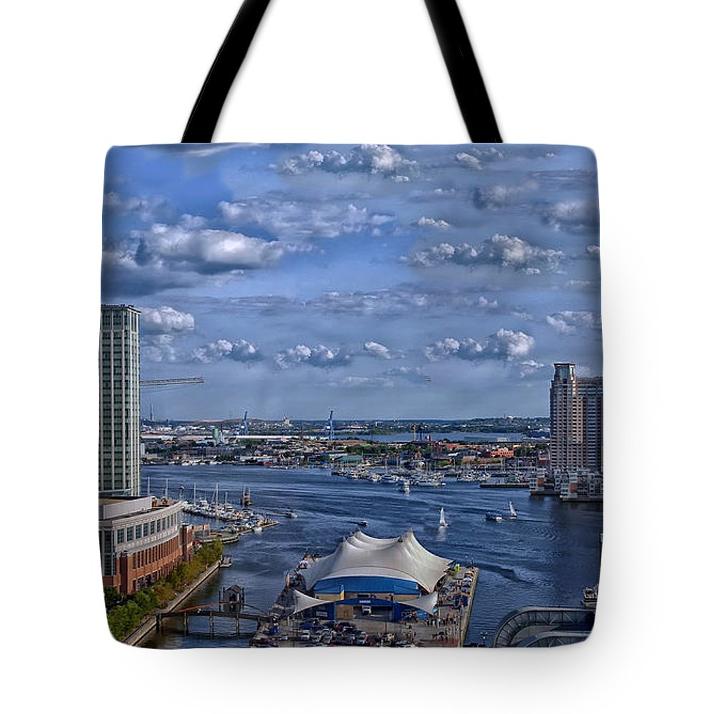 Baltimore Tote Bag featuring the photograph Baltimore Maryland Inner Harbor by Movie Poster Prints