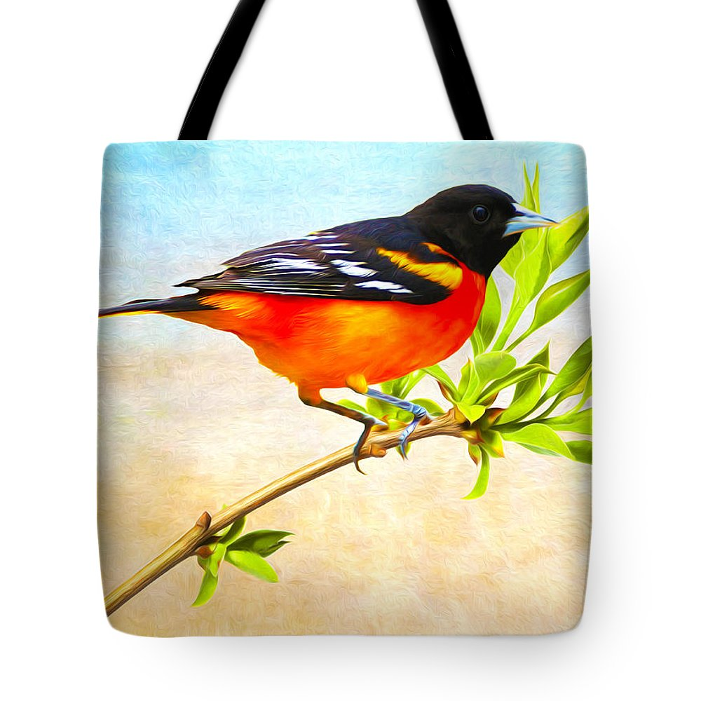 Baltimore Oriole Tote Bag featuring the photograph Baltimore Oriole Bird by Laura D Young