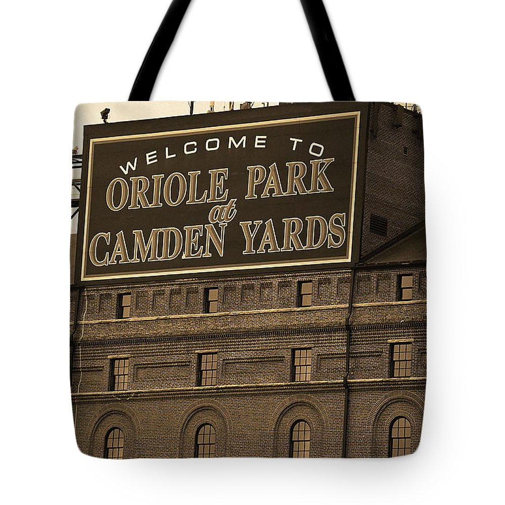 America Tote Bag featuring the photograph Baltimore Orioles Park At Camden Yards Sepia by Frank Romeo