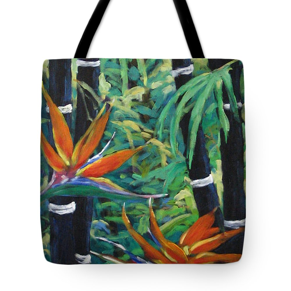 Bamboo Tote Bag featuring the painting Bamboo And Birds Of Paradise by Richard T Pranke