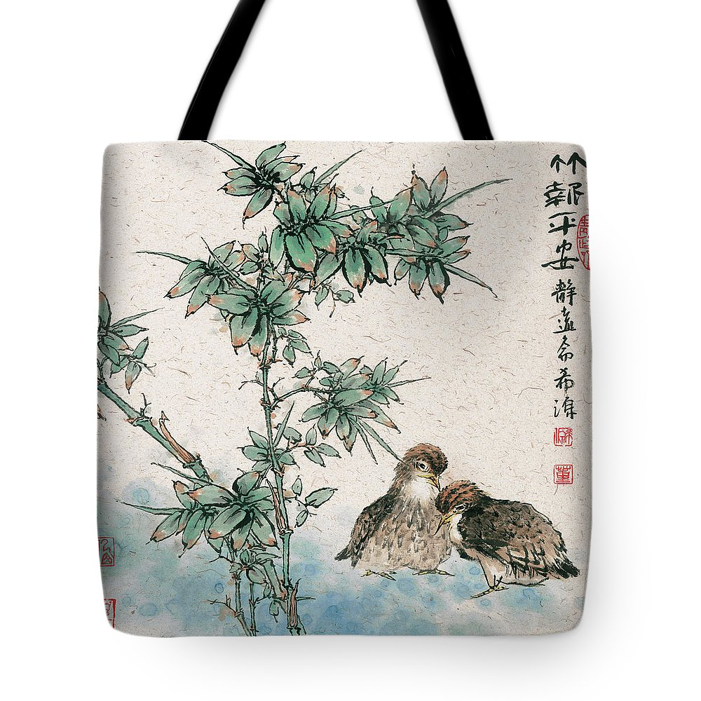 Bamboo And Chicken Tote Bag featuring the painting Bamboo And Chicken by Dong Xiyuan