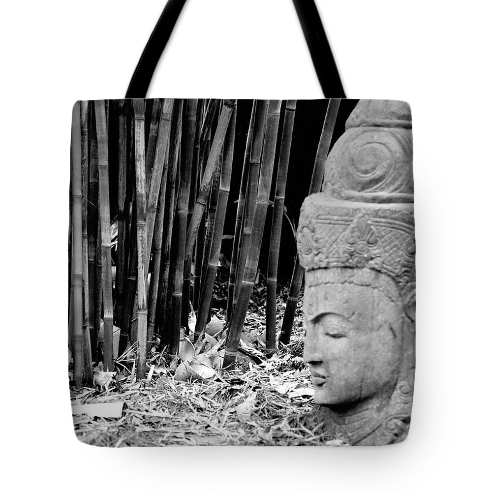 Landscape Tote Bag featuring the photograph Bamboo Landscape Statue Asian by Chuck Kuhn