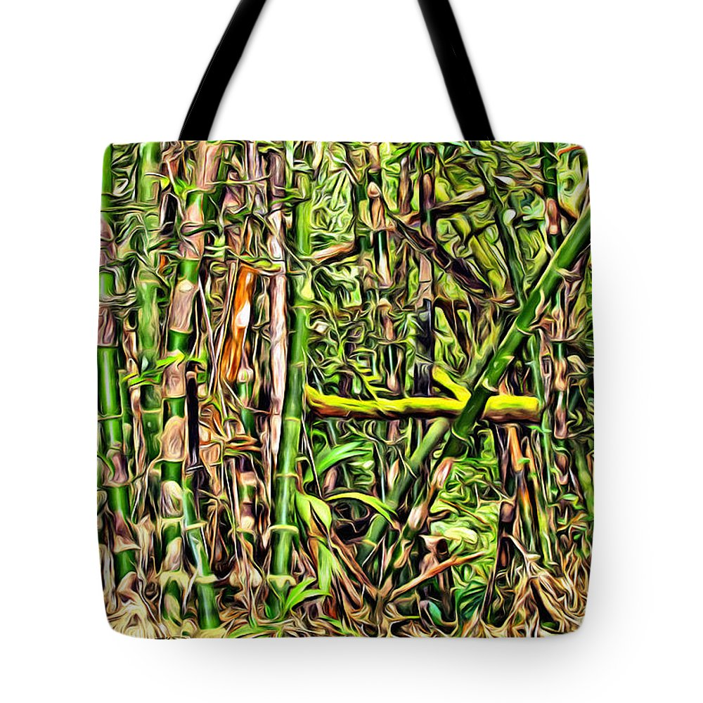 Bamboo Tote Bag featuring the digital art Bamboo View by Anthony C Chen