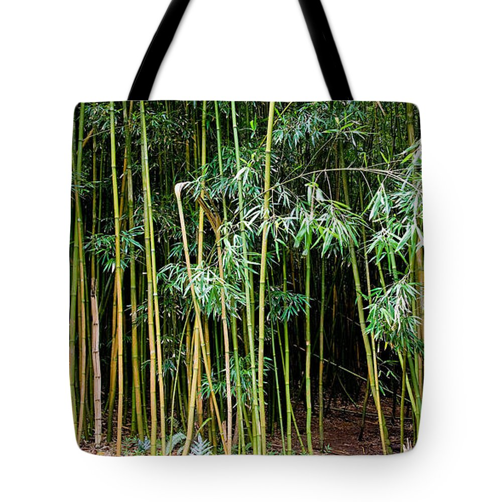 Bamboo Wind Chimes Tote Bag featuring the photograph Bamboo Wind Chimes Waimoku Falls Trail Hana Maui Hawaii by Michael Bessler