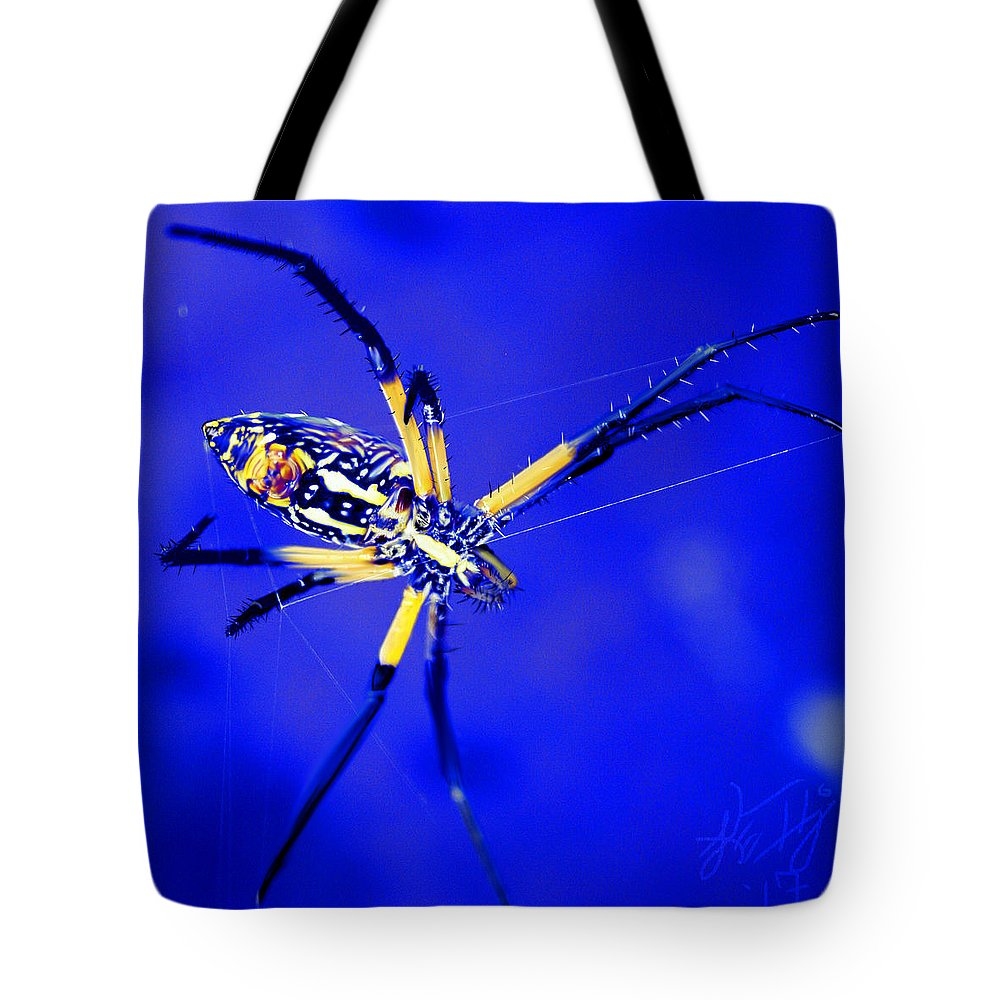 Spider Tote Bag featuring the digital art Banana Spider by Kendall Tabor