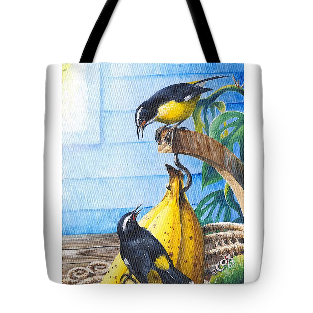 Chris Cox Tote Bag featuring the painting Bananaquits And Bananas by Christopher Cox