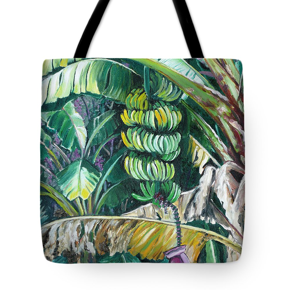 Caribbean Painting Bananas Trees P Painting Fruit Painting Tropical Painting Tote Bag featuring the painting Bananas by Karin Dawn Kelshall- Best