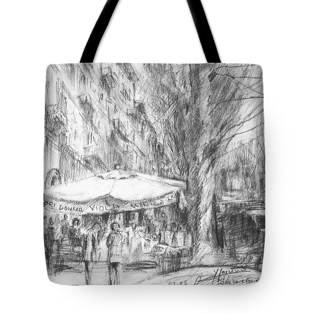 Bancarelle Tote Bag featuring the painting Bancarelle In Via Nomentana Rome by Ylli Haruni