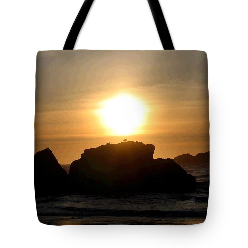 Seagull Tote Bag featuring the digital art Bandon Beach Silhouette by Will Borden
