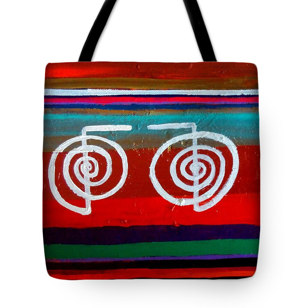 Reiki Symbol Tote Bag featuring the painting Bands Of Healing Two Cho Ku Rei's by Rizwana Mundewadi
