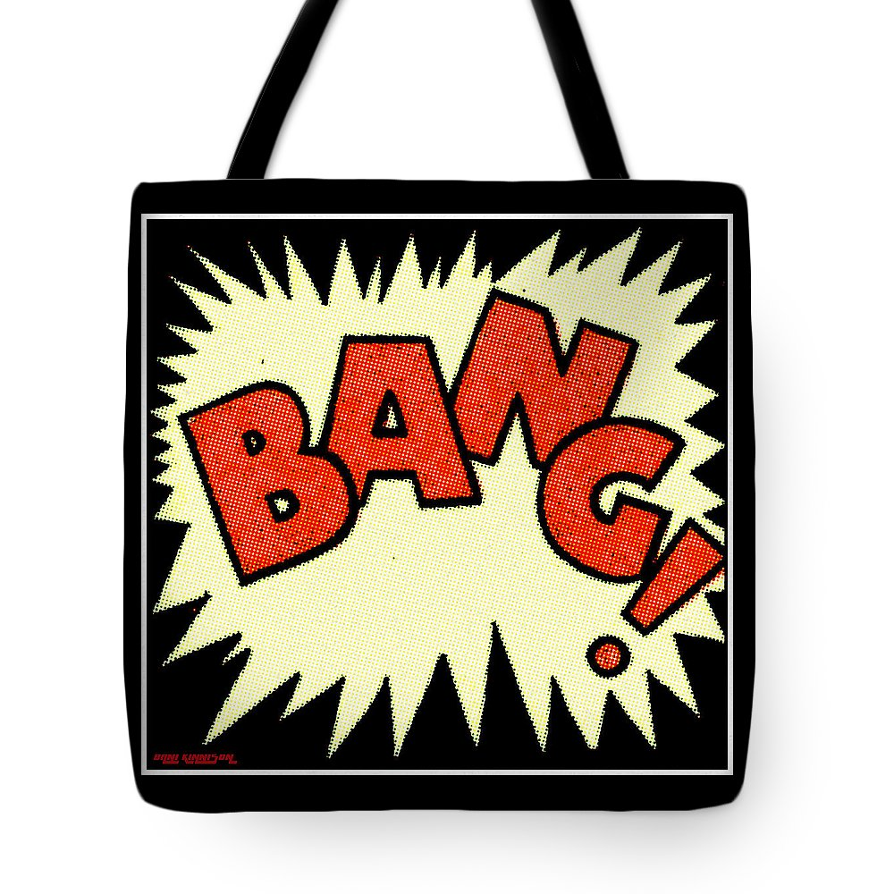 Comic Tote Bag featuring the painting Bang Bang Baby by Little Bunny Sunshine