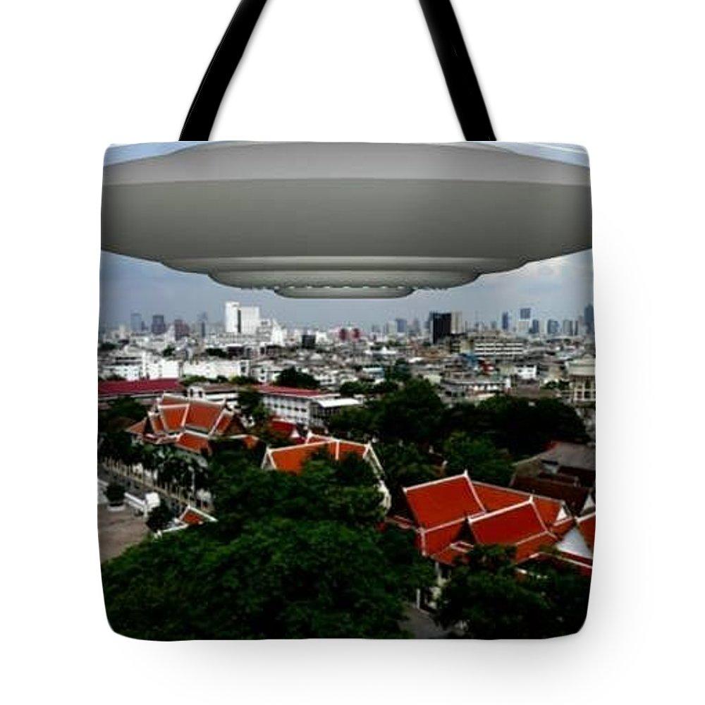Alien Nutz Comics Tote Bag featuring the mixed media Bangkok 3 by Robert aka Bobby Ray Howle