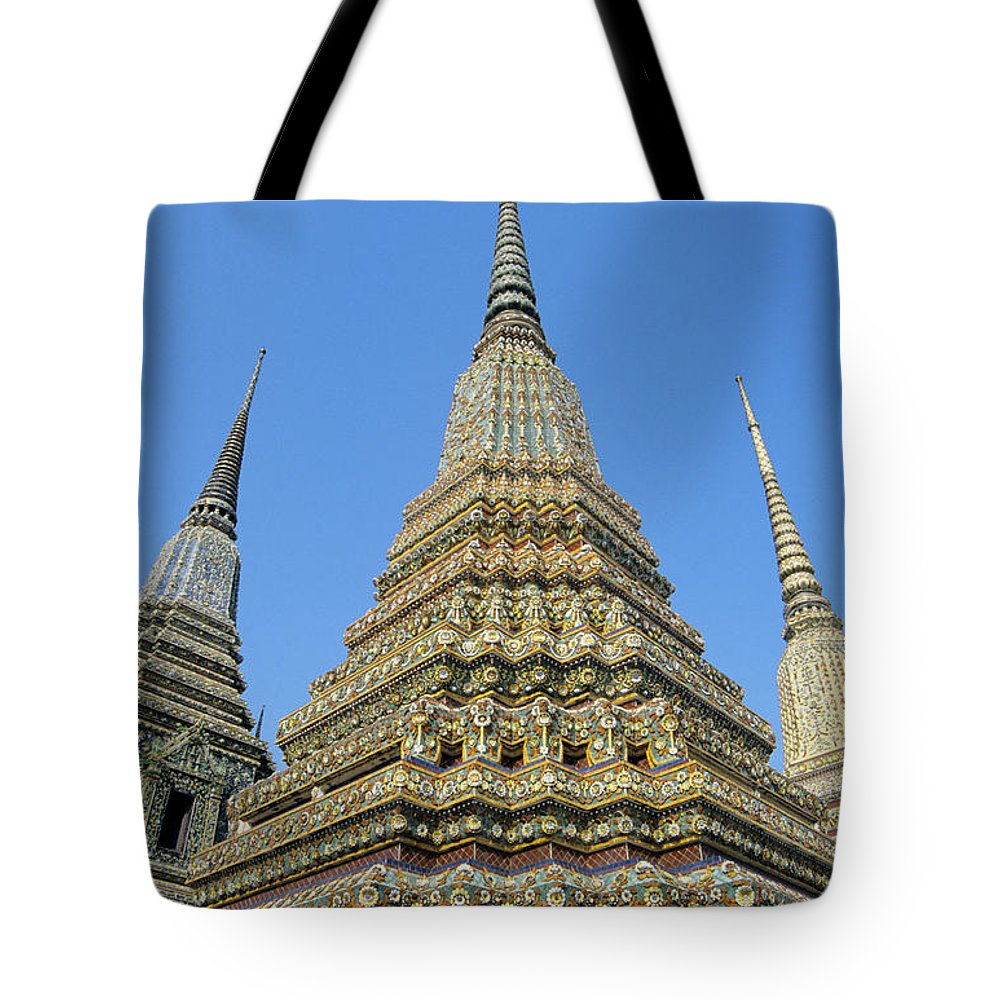 Architectural Tote Bag featuring the photograph Bangkok, Wat Po by Gloria & Richard Maschmeyer - Printscapes