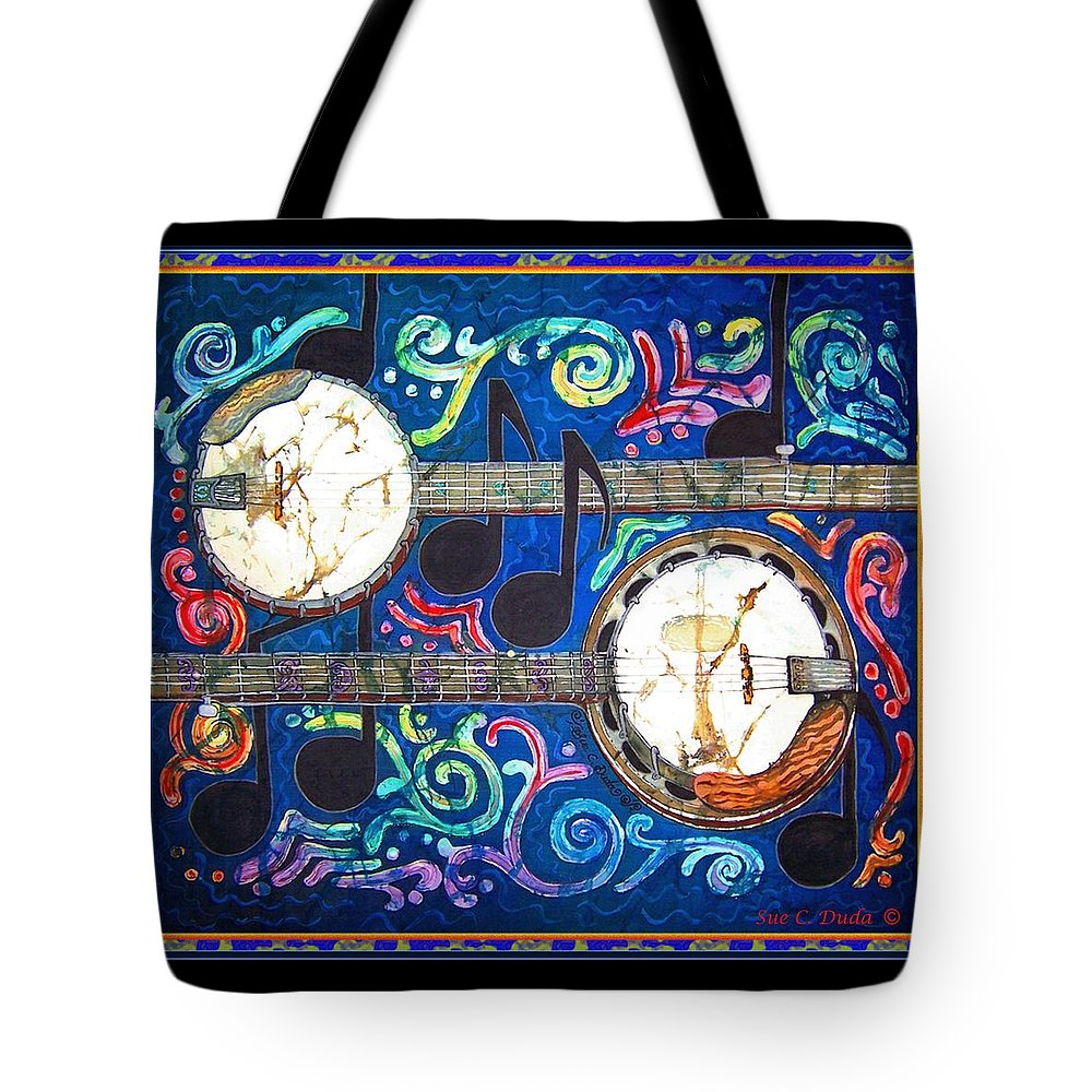 Banjo Tote Bag featuring the painting Banjos - Bordered by Sue Duda