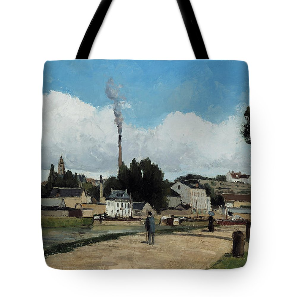 Camille Pissarro Tote Bag featuring the painting Banks Of The Oise At Pontoise by Camille Pissarro